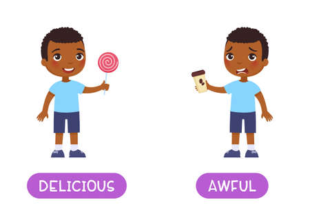 Delicious and awful antonyms word card, opposites concept. Flashcard for English language learning. Joyful African boy holds a sweet lollipop, unhappy dark skin boy holds bitter coffee in his hands