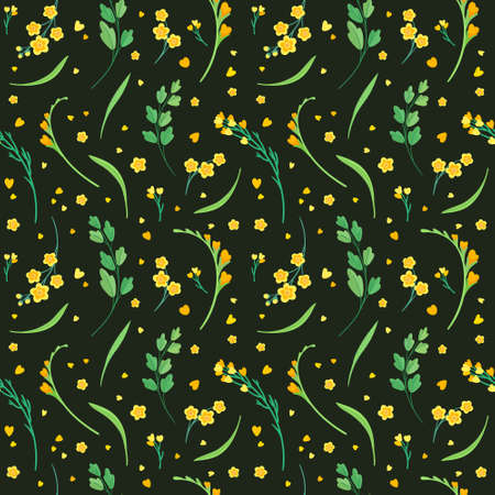 Yellow flowers and leaves seamless pattern. Blossoms floral decorative backdrop. Blooming spring plants. Vintage textile, fabric, wallpaper design on a dark background