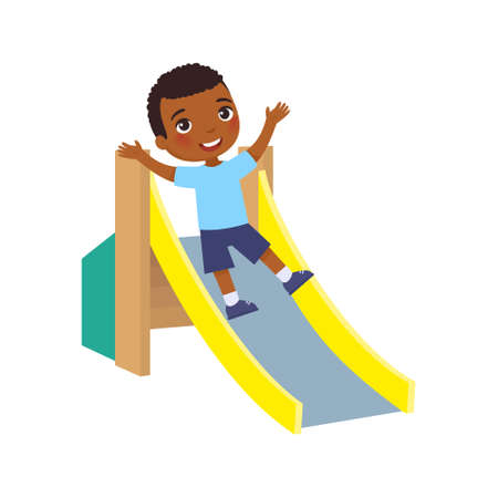 Happy African little  boy slides off a children's slide. Joyful dark skin child, summer vacation. Concept of vacation and entertainment on the playground. Cartoon character