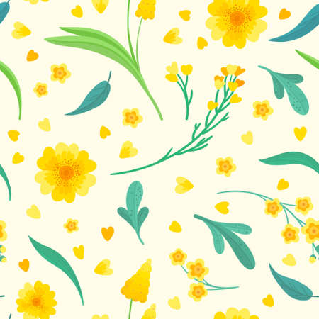 Yellow flowers and leaves seamless pattern. Blossoms floral decorative backdrop. Blooming spring plants. Vintage textile, fabric, wallpaper design on a beige background 일러스트