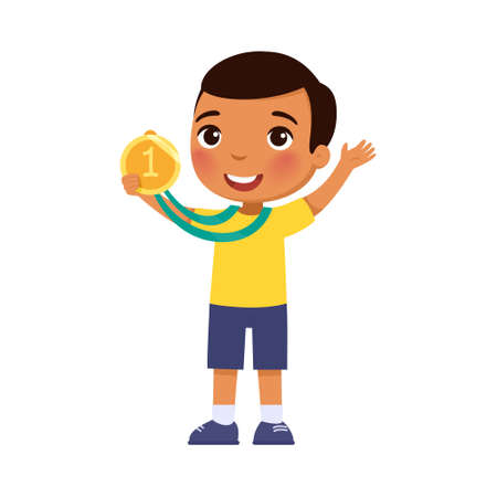 Little dark skin boy happy with a golden medal in his hand. Victory concept. 일러스트