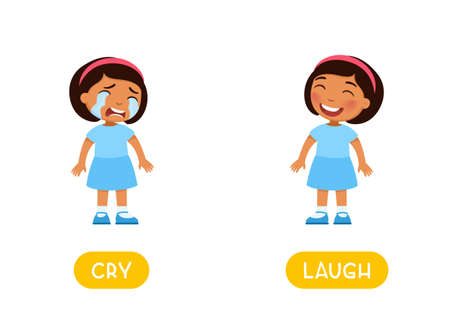 CRY and LAUGH antonyms, Opposites concept. Word card for English language learning with cartoon characters. Dark skin girl sad and girl happy illustration