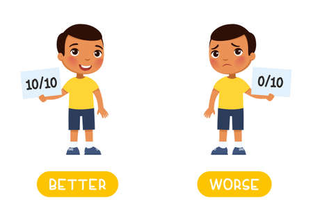 BETTER and WORSE antonyms word card, opposites concept. Flashcard for English language learning. Sad dark skin boy holds in his hand a sheet with a minimum result and a happy boy shows a maximum