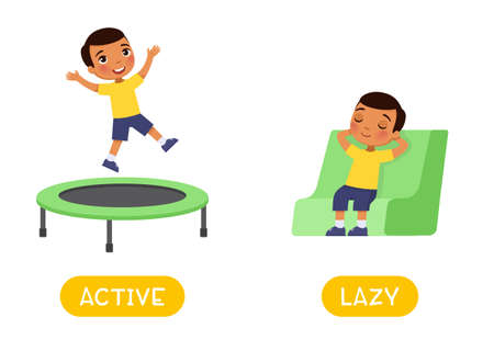 Active and lazy antonyms word card,  Opposites concept. Flashcard for english language learning. Dark skin boy jumps happily on the trampoline, the child sleeps in the chair.