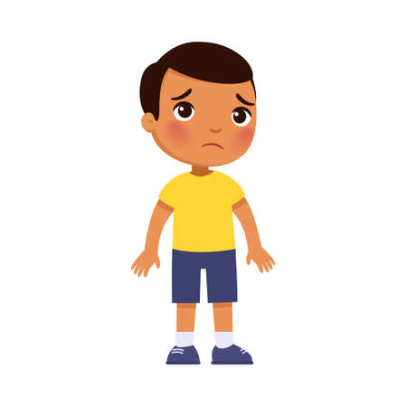 Sadness dark skin little boy flat vector illustration. Upset lonely child standing alone cartoon character. Dark skin kid in bad mood, person unhappy expression Vettoriali