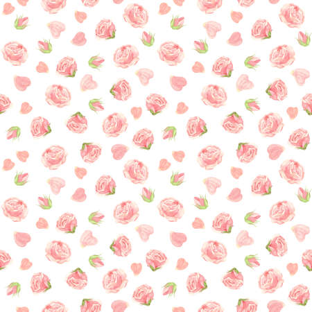 Pink roses seamless pattern. Flowers, buds and rose petals. Floral background in vintage style. Watercolor clipart.