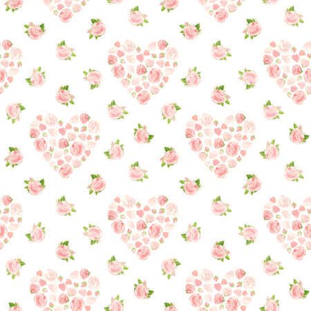 Pink roses hearts, seamless pattern. Flowers, buds and rose petals. Floral romantic background in vintage style for Valentines Day or wedding. Watercolor clipart.