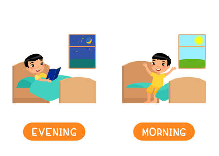 Evening and morning antonyms word card, opposites concept. Flashcard for english language learning. Little Asian boy reads a book before sleep, child sits on the bed and rejoices in the morning. 일러스트