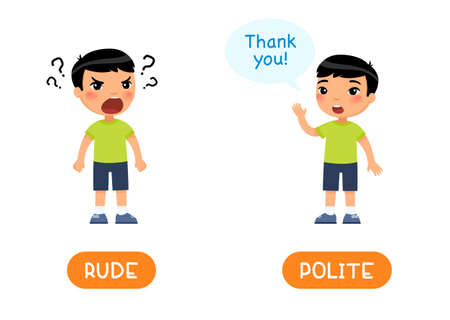 RUDE and POLITE antonyms word card, Opposites concept. Flashcard for English language learning. Little Asian boy shouts angrily, calm child asks