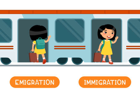 Emigration and immigration antonyms word, opposites concept. Flashcard for English language learning. Little Asian girl with a suitcase enters the train, the child gets out of the car.