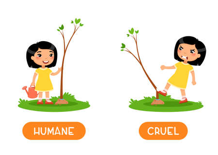 Humane and cruel antonyms word card, opposites concept. Flashcard for English language learning. Little Asian girl planted a tree, an angry child breaks the plant. 일러스트