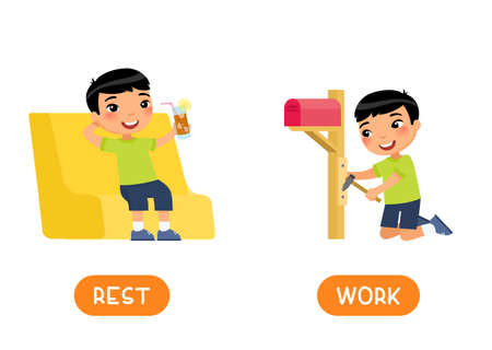 REST and WORK antonyms word card, opposites concept. Flashcard for English language learning. Asian boy is resting in a chair with cold tea in his hand. The child is working - making a mailbox