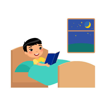 Little happy Asian boy lies in bed and reads a book before sleep. Cute cartoon characters isolated on white background. Flat vector color illustration.