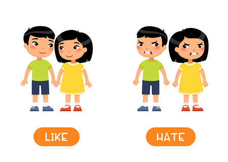 LIKE and HATE antonyms word card, opposites concept. Flashcard for English language learning. Asian children in love hold hands. The quarrel and the children are angry