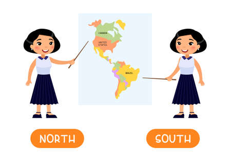 NORTH and SOUTH antonyms word card, opposites concept. Flashcard for English language learning. A female Asian teacher points to a map
