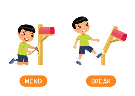 MEND and BREAK antonyms word card, opposites concept. Flashcard for english language learning. Asian boy breaks mailbox, child fixes broken post