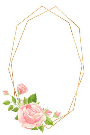 Vertical frame with pink roses and gold geometric frame. Floral template for wedding invitations, Valentine's Day postcards, posters, banners. Watercolor clipart on white background 스톡 콘텐츠