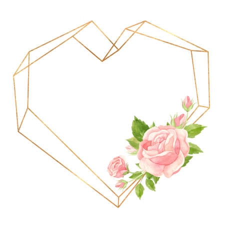 Heart frame with pink roses and gold geometric frame. Floral template for wedding invitations, Valentine's Day postcards, posters, banners. Watercolor clipart on white background 스톡 콘텐츠