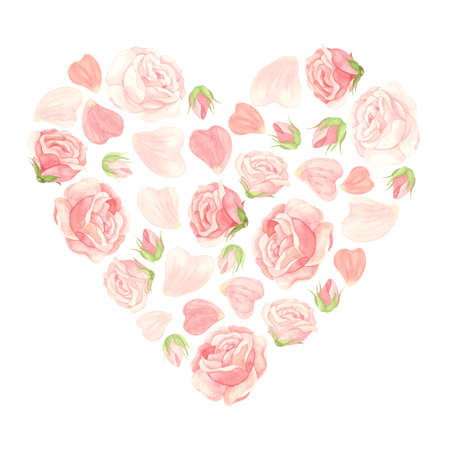 Pink roses heart with flowers, buds and petals. Floral template for wedding invitations, Valentine's Day postcards, posters, banners. Watercolor clipart on white background