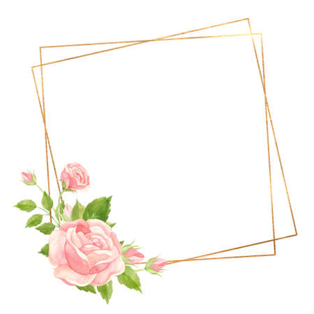 Square frame with pink roses and gold geometric frame. Floral template for wedding invitations, Valentine's Day postcards, posters, banners. Watercolor clipart on white background