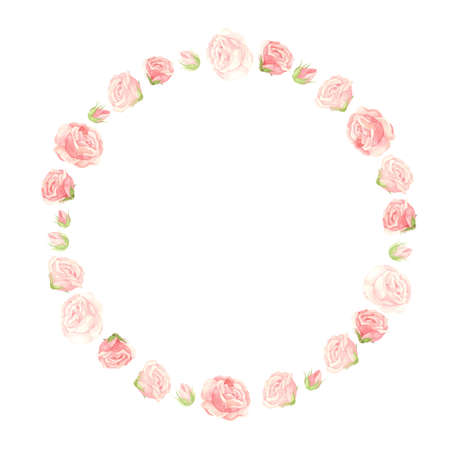 Pink roses wreath with flowers, buds and petals. Floral template for postcards, posters, banners. Watercolor clipart on white background