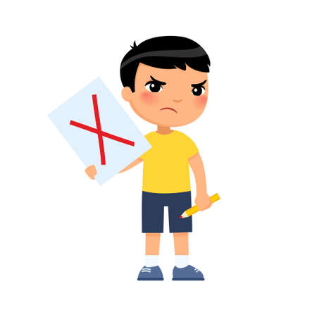 Disgruntled little Asian boy drew a red cross on the paper, symbol of rejection. Protesting child, psychology. Cartoon character
