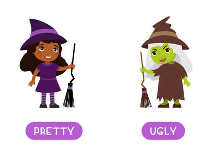UGLY and PRETTY antonyms word card, Opposites concept. Flashcard for english language learning.  Cute African girl in Halloween witch costume, old ugly witch with green skin