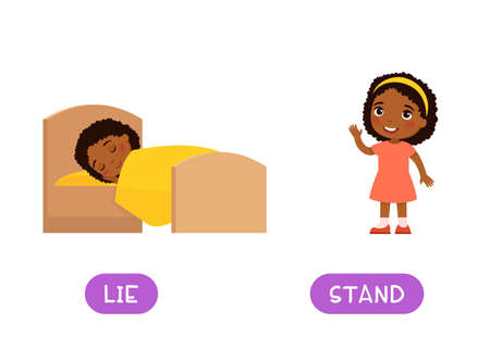 LIE and STAND antonyms word card vector template, Opposites concept. Flashcard for english language learning. Little African girl sleeping in bed, dark skin child standing and waving of hand