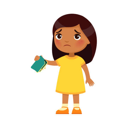 Little Indian girl with empty wallet in hand. Upset poor child cartoon character. Poverty, unemployed person in need. Frustrated little dark skin kid, isolated design element on white