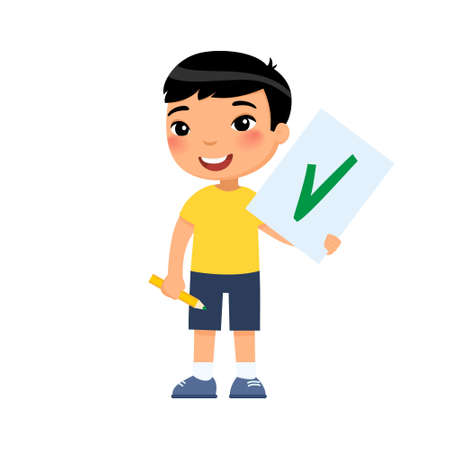 Joyful Asian child holds a paper with a check mark - a symbol of approval. Cartoon character