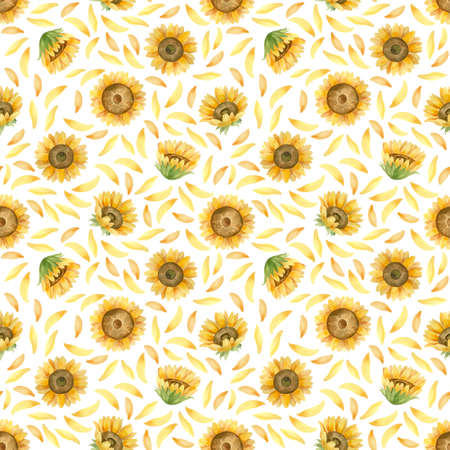 Sunflowers seamless pattern. Watercolor clipart on white background 스톡 콘텐츠