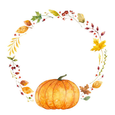 Watercolor wreath with pumpkin and fall leaves. Autumn, Thanksgiving Day.