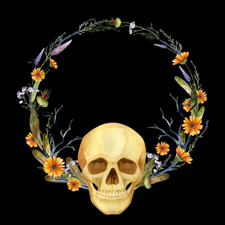 Halloween Party Invitation, Gothic floral wreath with skull. Watercolor clipart on black background 스톡 콘텐츠