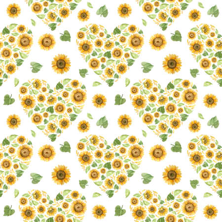 Sunflowers hearts, seamless pattern for wedding  decoration. Romantic watercolor clipart