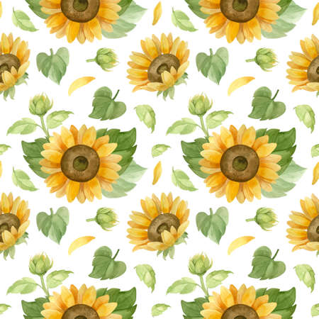 Sunflowers seamless pattern, watercolor clipart