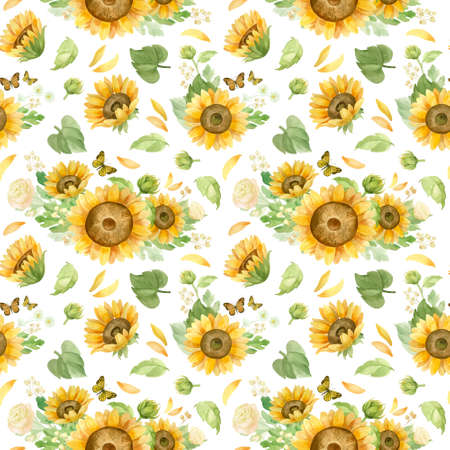 Sunflowers white roses and chrysanthemums - floral seamless pattern. Watercolor clipart on white background 스톡 콘텐츠