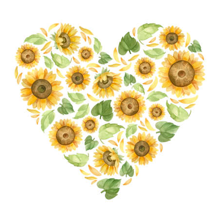 Heart with sunflowers. Template for a wedding invitation. Romantic watercolor clipart.