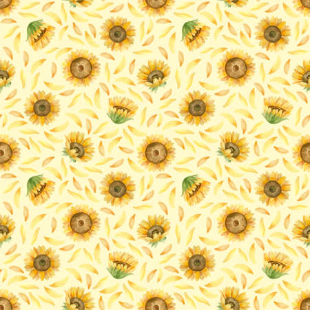 Sunflowers seamless pattern. Watercolor clipart on yellow background 스톡 콘텐츠