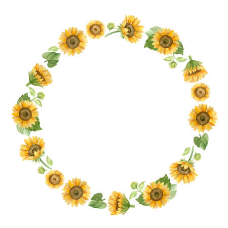 Wreath with sunflowers. Template for a wedding invitation. Romantic watercolor clipart.