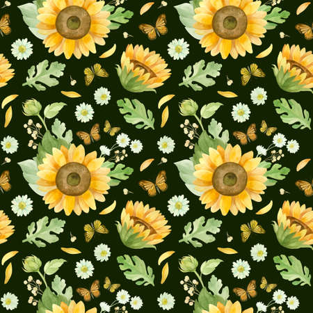 Sunflowers white roses and chrysanthemums - floral seamless pattern. Watercolor clipart on dark background 스톡 콘텐츠