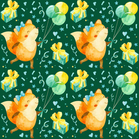 Seamless pattern with happy fox cub with balloons, gifts and other birthday elements. Cute watercolor clipart for children's party decoration, baby showers. Seamless backdrop on dark green background
