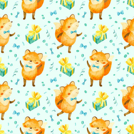 Seamless pattern with happy fox cub with cupcakes, gifts and other birthday elements. Cute watercolor clipart for children's party decoration, baby showers. Seamless backdrop on light blue background 스톡 콘텐츠