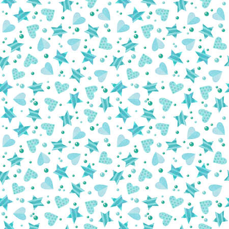 Seamless pattern with blue hearts and stars. Cute watercolor clipart for children's party decoration, baby showers. Seamless backdrop on white background 스톡 콘텐츠