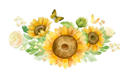 Sunflowers, white roses and chrysanthemums - flower arrangement for wedding invitation and decoration.