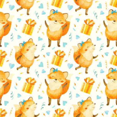 Seamless pattern with happy fox cub with gifts, birthday elements. Cute watercolor clipart for children's party decoration, baby showers. Seamless backdrop on white background