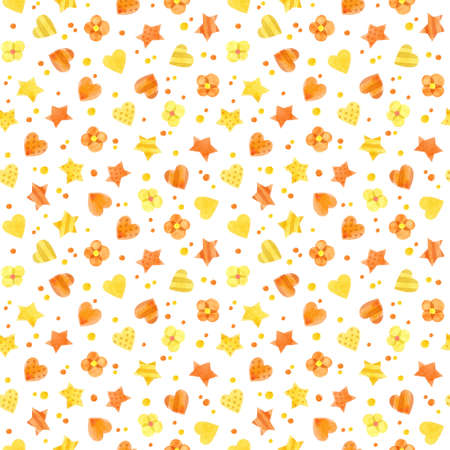 Seamless pattern with yellow and orange hearts and stars. Cute watercolor clipart for children's party decoration, baby showers. Seamless backdrop on white background
