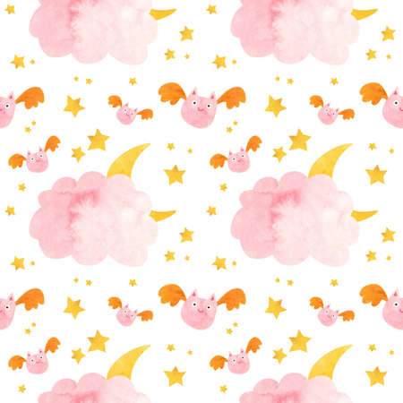 Kids Halloween seamless pattern with pink bat and moon behind the clouds.  Cute childish digital scrapbooking paper on white background.