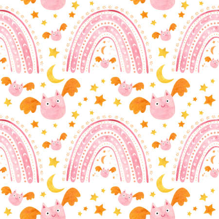 Baby Halloween seamless pattern with cute pink bats and rainbows. Childish digital scrapbooking paper on white background. Фото со стока