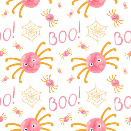 Kids Halloween seamless pattern with pink spiders and orange cobwebs. Cute childish digital scrapbooking paper on white  background.