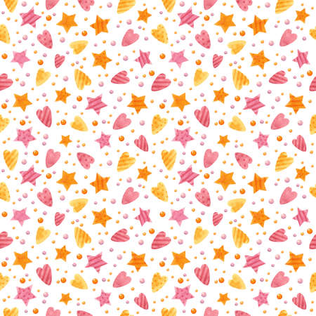 Baby seamless pattern with pink and orange stars and hearts. Cute childish digital scrapbooking paper on white background.